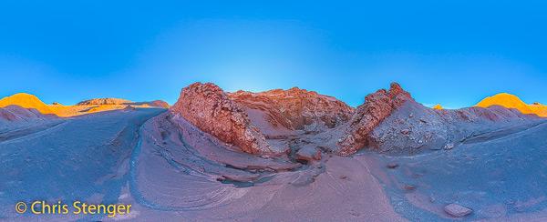 Een 360 graden panorama gemaakt in de Maan vallei (Valle de la Luna) in het noordoosten van Chili