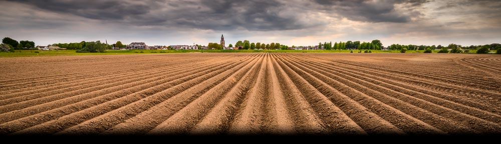 Deze nog kale maar bewerkte akker in de buurt van Huissen is een typisch landschap voor Nederland in het vroege voorjaar