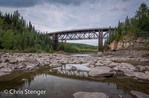 Deze houten brug is één van de weinige nog bestaande originele onderdelen van de Alcan. De brug wordt nog gebruikt en is tegenwoordig een monument, maar de moderne Alcan loopt niet langer over deze brug