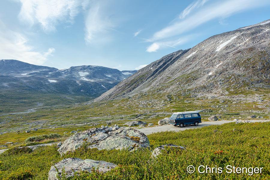 We kampeerden hier langs de oude Strynefjellsveg, een prima locatie om vrij te kamperen ver van de toeristische hordes.