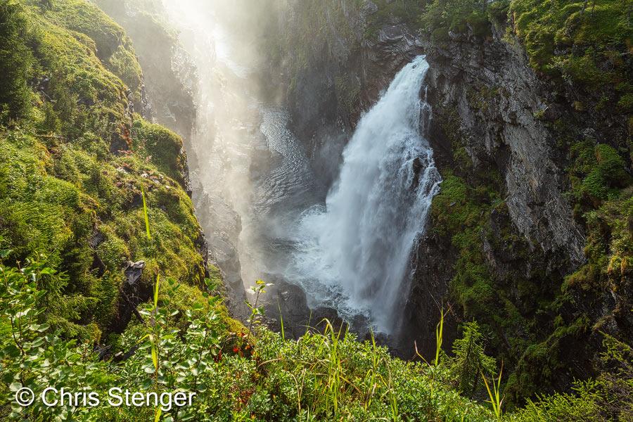 Watervallen zoals de Hällingsåfallet zijn zeldzaam in het zuiden van Zweden. De meeste watervallen zijn meer stroomversnellingen dan echte watervallen.